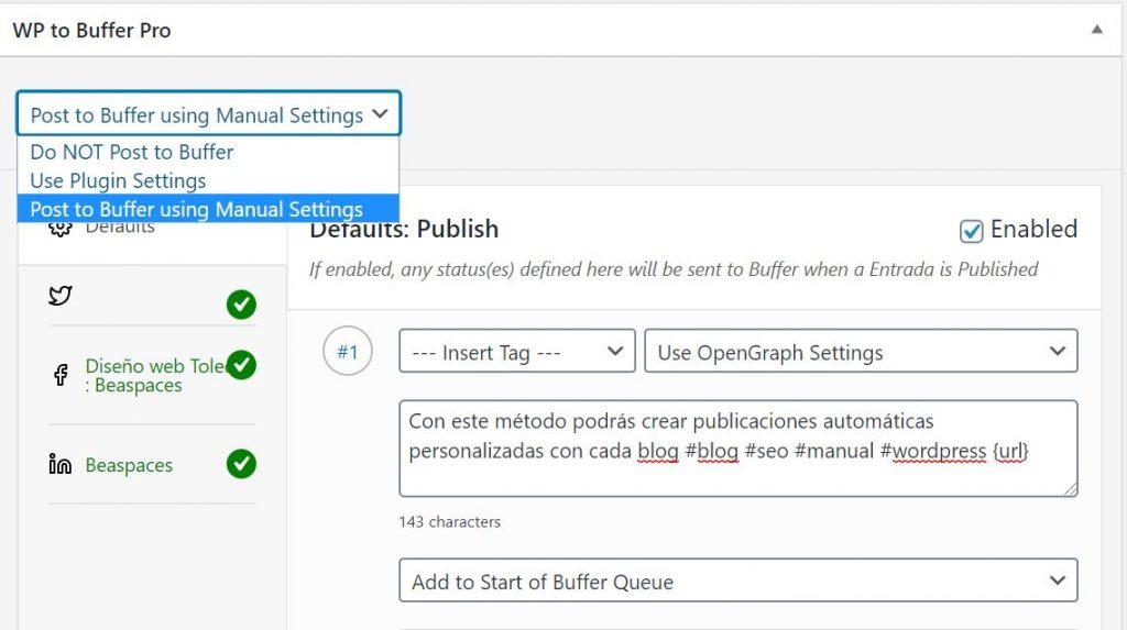 Activar publicación automática personalizada