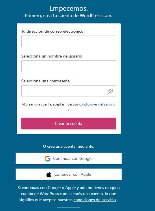 Crear cuenta gratuita en WordPress
